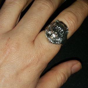 LION Face Ring Size 7 TibetSilverStainlessSteel